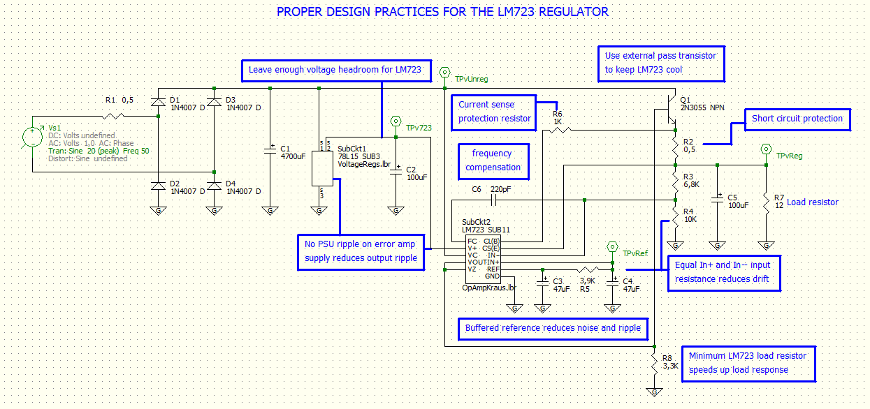 A Collection of Proper Design Practices using the LM723 IC